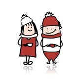 Couple walking with coffee cups, cartoon for your Royalty Free Stock Image