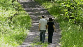 Couple walking on country road Stock Images