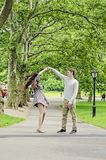 Couple having fun in Central Park in New York City Stock Image