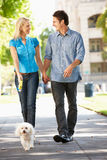 Couple walking dog in city street Stock Photo