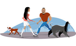 Couple walking dogs stock illustration