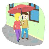 A couple walking down the street in the rain. vector illustration
