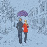 Couple walking down the street in the rain vector illustration