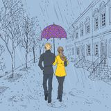 Couple walking down the street in the rain royalty free illustration