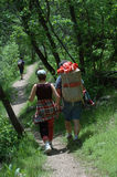 Couple walking down the trail. In Utah mountains Royalty Free Stock Photo