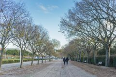 Couple walking in the eduardo seventh park in Lisbon. Portugal. City Stock Photo