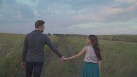 Couple walking in a field stock video