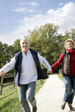 Couple walking hand in hand Stock Photos