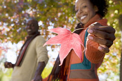 Couple walking hand in hand in autumn park, focus on woman holding red maple leaf, smiling, side view, portrait Royalty Free Stock Images