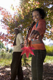 Couple walking hand in hand in autumn park, woman holding red maple leaf, smiling, side view, portrait. Couple walking hand in hand in autumn park, women holding stock image