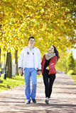 Couple walking royalty free stock photos