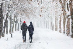Couple walking during heavy snowstorm Stock Photo