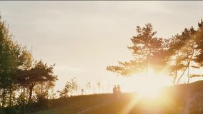 Couple walking on a hill holding hands at sunset in nature. Sun rays shine. Natural landscape, trees, bushes. Slow mo stock footage