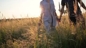 Couple walking holding hands in the grass field stock footage