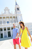 Couple walking holding hands in Madrid, Spain Stock Photos