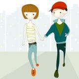 Couple walking royalty free illustration