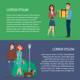 Couple walking. Man gives a gift to a woman. Cartoon poster Stock Photo