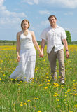 Couple walking on meadow Stock Images