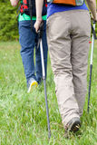 Couple walking on a meadow Stock Images