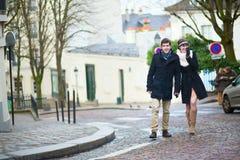 Couple walking on Montmartre Stock Photo