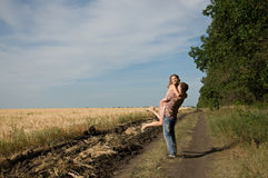 Couple walking on nature Stock Photography