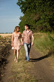Couple walking on nature Royalty Free Stock Photography