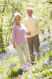 Couple walking outdoors holding hands smiling Stock Photo