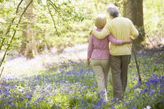 Couple walking outdoors with walking stick Royalty Free Stock Image