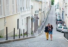 Couple walking in Paris together Royalty Free Stock Photo