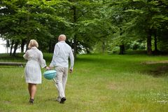 Couple Walking With Portable Barbecue Royalty Free Stock Photography