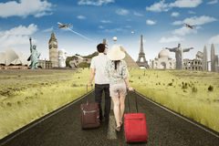 Couple Walking on The Road Royalty Free Stock Photography