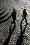 Couple walking in San Francisco plaza, Quito Royalty Free Stock Photography