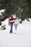 Couple Walking On Snow Covered Path Royalty Free Stock Photography
