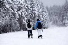 Couple walking on snow covered path Stock Photography