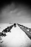 Couple walking snowy pier Stock Image