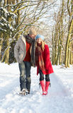 Couple Walking Through Snowy Woodland Royalty Free Stock Images