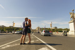 Couple walking on streets of Paris Royalty Free Stock Photography