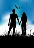 Couple walking on summer meadow. Black silhouette stock illustration