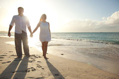 Couple walking in susnset time Royalty Free Stock Photography