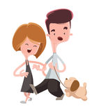 Couple walking their pet dog  illustration cartoon character Royalty Free Stock Photography