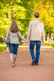 Couple walking together in park on a fall day Stock Photography