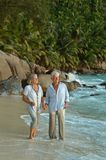 Couple walking on  tropical beach. Happy elderly couple walking on  tropical beach Royalty Free Stock Photo