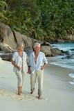 Couple walking on  tropical beach. Happy elderly couple walking on  tropical beach Stock Images