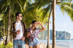 Couple Walking Tropical Beach Palm Trees Summer Vacation, Beautiful Young People Looking At Sea, Man Woman Holiday Royalty Free Stock Photos