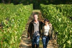 Couple walking in vineyard stock image