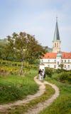 Couple walking in vineyard Royalty Free Stock Image