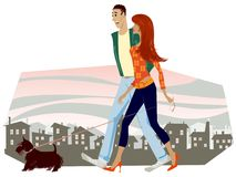 Couple Walking With A Dog Stock Images