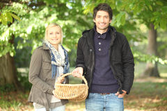Couple walking in the woods Stock Photos