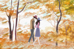 Couple walking in the woods - Graphic painting texture Stock Image