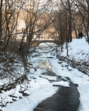 Couple walks along  frozen creek in a park. Couple walks along partly frozen creek in a park Stock Images